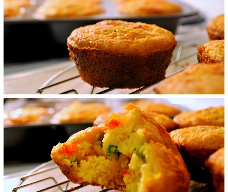 Mexican Cornbread Muffins with Bell Peppers & Corn