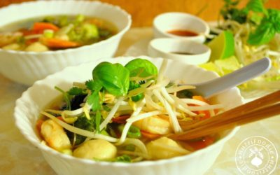 Vietnamese Homemade Pho with Chicken Broth Base