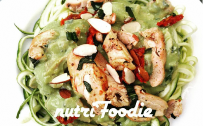 Avocado and Chicken Alfredo Zoodles (Zucchini Noodles)