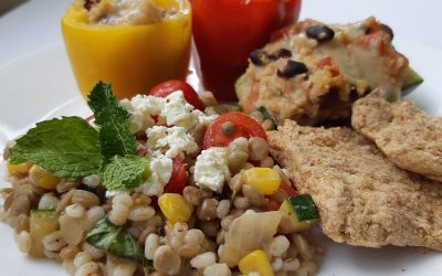 Barley and Lentil Salad with Charred Corn